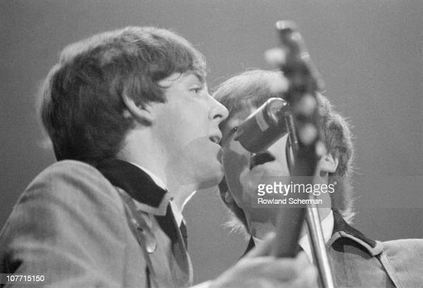 British pop group The Beatles perform on stage at the Washington Coliseum Washington DC February 11 1964 The performance was their first US concert...