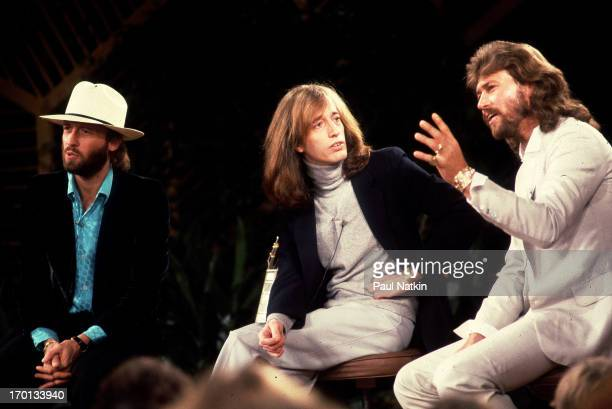 British pop group the Bee Gees appear on television's the Phil Donahue Show Chicago Illinois October 26 1981 Pictured are from left brothers Maurice...