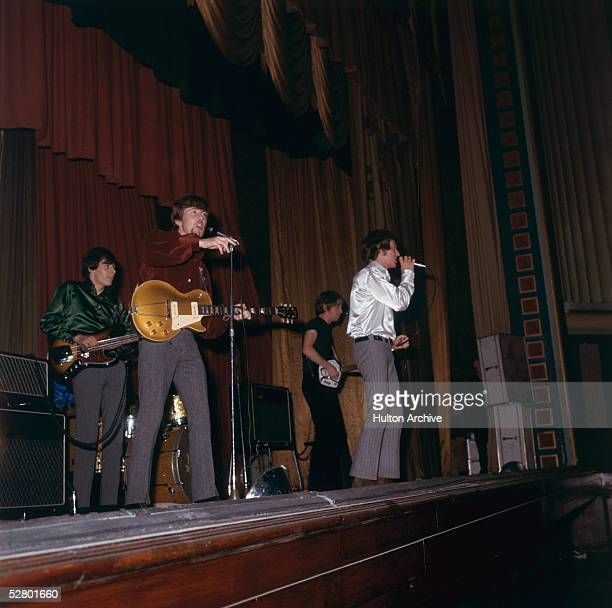 British pop group The Hollies performing on stage November 1966 Group members Allan Clarke Graham Nash Tony Hicks and new boy Bernie Calvert are...