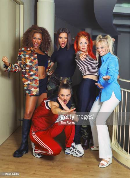 British pop group The Spice Girls Paris September 1996 Left to right Melanie Brown Melanie Chisholm Victoria Beckham Geri Halliwell and Emma Bunton...
