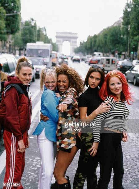 British pop group The Spice Girls Paris September 1996 Left to right Melanie Chisholm Emma Bunton Melanie Brown Victoria Beckham and Geri Halliwell...