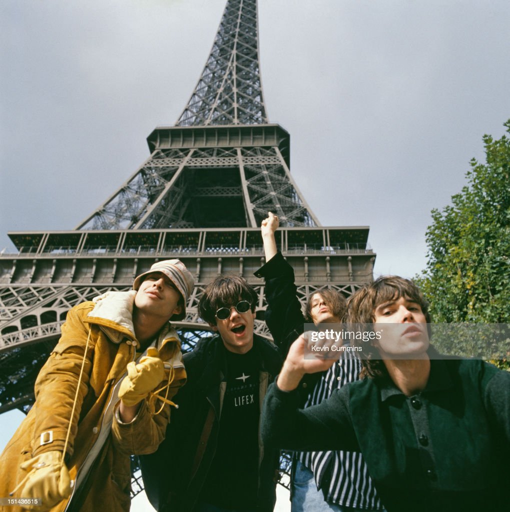 British pop group The Stone Roses in Paris, 9th October 1989. Left to right: drummer Alan Wren ('Reni'), guitarist John Squire, bassist Gary 'Mani' Mounfield and singer Ian Brown.