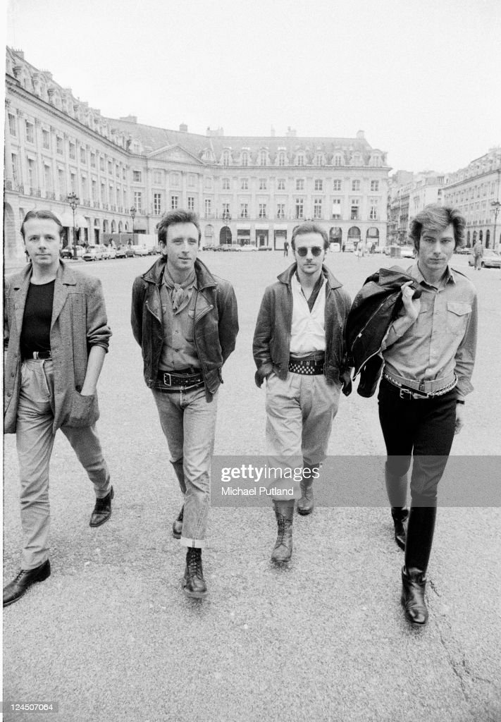 British pop group Ultravox, group portrait, Paris, 1982, L-R Billy Currie, Chris Cross, Midge Ure, Warren Cann.