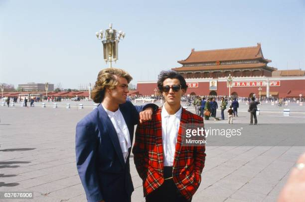 British pop group Wham pictured on their 10day visit to China April 1985 George Michael and Andrew Ridgeley pictured in front of the Forbidden Palace...