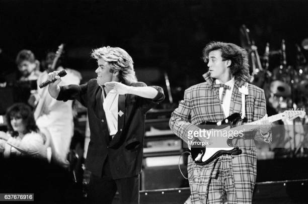 British pop group Wham pictured on their 10day visit to China April 1985 George Michael and Andrew Ridgeley on stage during the band's concert at...