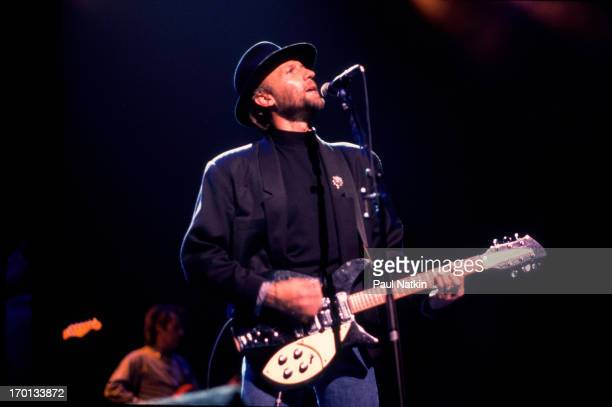British pop musician Maurice Gibb of the group the Bee Gees performs on stage at the Poplar Creek Music Theater Hoffman Estates Illinois July 31 1989