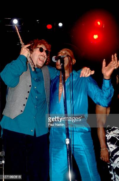 British Pop & Rock musician Elton John performs with Pop and New Wave group Was at an unspecified nightclub, Los Angeles, California, August 2, 1990....