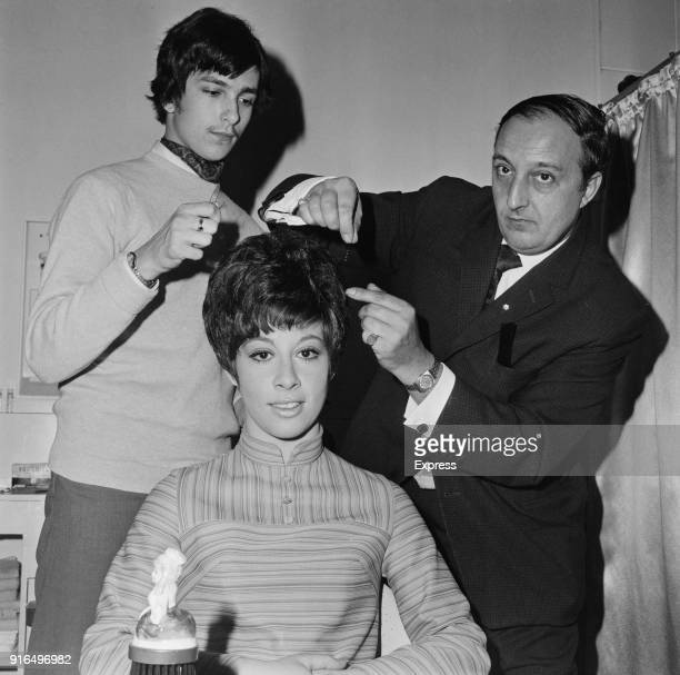 British pop singer and actress Helen Shapiro with hairdresser John Spence and his son Roy UK 18th March 1968