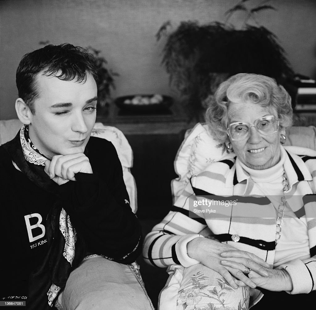 British pop singer Boy George with social conservative media campaigner Mary Whitehouse (1910 - 2001), 10th January 1989.