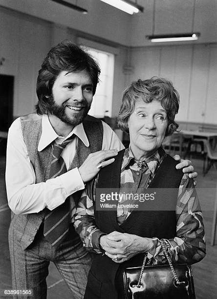 British pop singer Cliff Richard with actress Kathleen Harrison his costar in the Graham Greene play 'The Potting Shed' London UK 16th May 1971