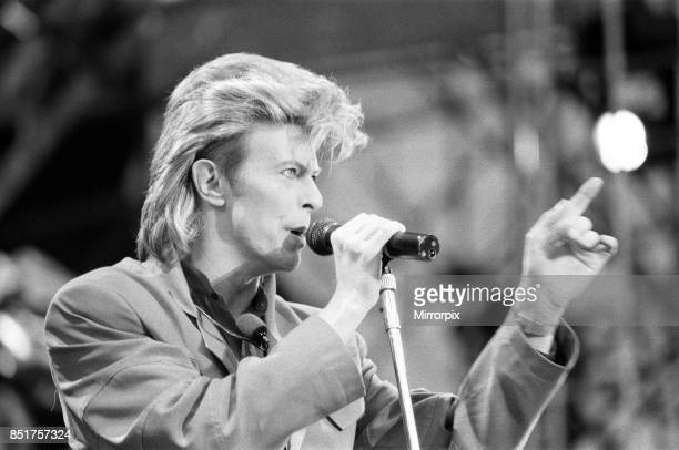 British pop singer David Bowie performing on stage at Wembley, 20th June 1987, .