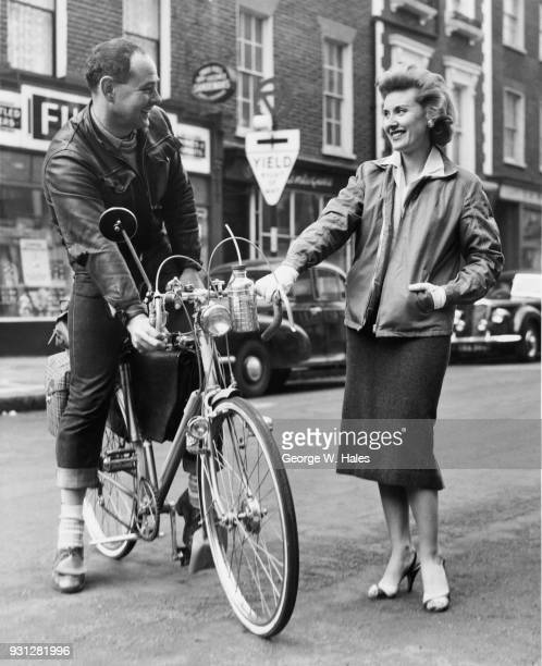 British pop singer Jill Day sees her publicity agent Eric Braun off from Porchester Place in Paddington west London on his journey to Liverpool on...