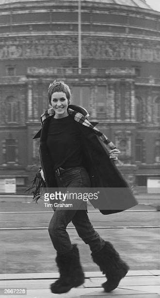 British pop singer Julie Driscoll outside the Royal Albert Hall in London after rehearsals for a concert in aid of the Save the Children Fund