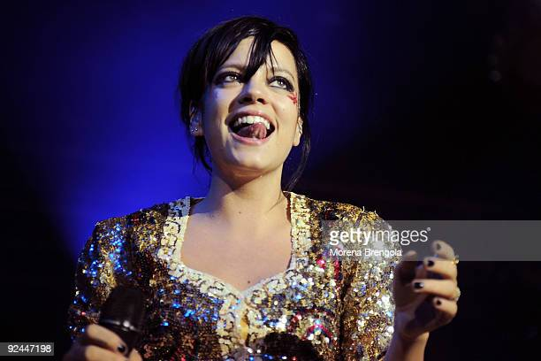 British pop singer Lily Allen performs at Alcatraz club on October 28 2009 in Milan Italy