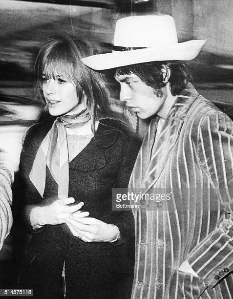 British pop singer Marianne Faithfull and Rolling Stones member Mick Jagger at the San Remo Song Festival in Italy