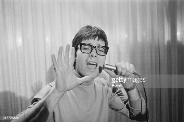 British pop singer musician and performer Cliff Richard rehearsing his Eurovision Song 'Congratulations' upon his appearance on the 'Cilla' BBC TV...