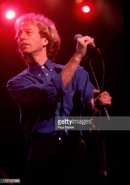 British pop singer Robin Gibb of the group the Bee Gees performs on stage at the Poplar Creek Music Theater Hoffman Estates Illinois July 31 1989