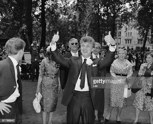 British pop singer Tommy Steele after his wedding to Ann Donoghue at St Patrick's Church Soho London 18th June 1960