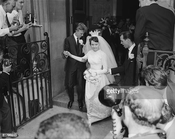 British pop singer Tommy Steele with his wife Ann Donoghue after their wedding at St Patrick's Church Soho London 18th June 1960