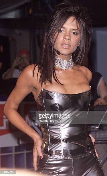British pop singer Victoria Beckham at the Eden Club in Ibiza on August 12 2000 performing her new single collaborated with Dane Bowers Out of my Mind