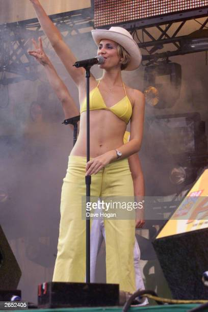 British pop star Claire Richards of the pop group 'Steps' performs on stage at the 'Party In The Park' concert in Hyde Park on July 4 1999 in London