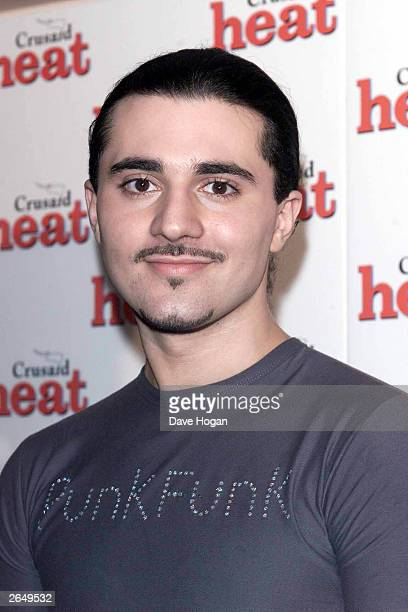 British pop star Darius Danesh arrives at the Heat Magazine party at the Park Lane Hotel on February 17 2001 in London