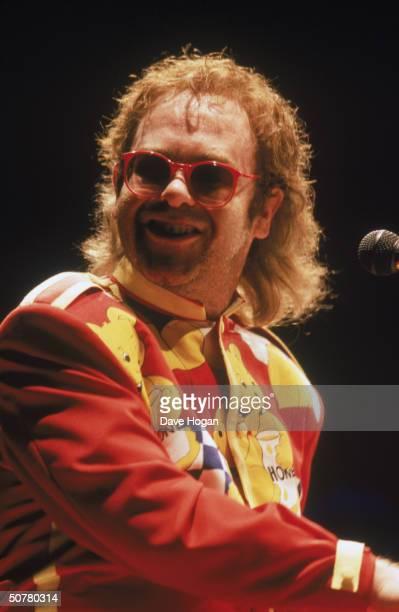 British pop star Elton John in concert circa 1990