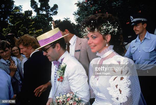 British pop star Elton John marries sound engineer Renate Blauel in Sydney 14th February 1984