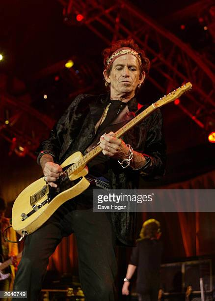 British pop star Keith Richards of the rock group 'The Rolling Stones' performs on stage on the opening night of their 'Licks' world tour at Boston...