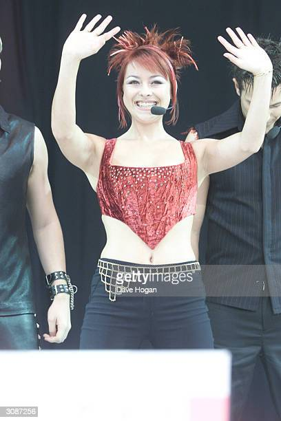 British pop star Lisa Scott Lee of the ex pop group Steps performs on stage at Party In The Park held at Hyde Park on July 9 2000 in London