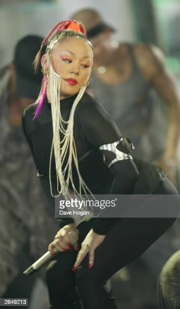 British pop star Mutya Buena of the pop group the 'Sugababes' recieves an award at the Brit Awards 2003 at Earls Court 2 on February 20 2003 in London