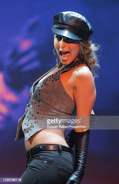British pop star Rachel Stevens performing at BBC Television Centre before the Mastercard FIFPro World XI Player Awards on September 19, 2005 in...