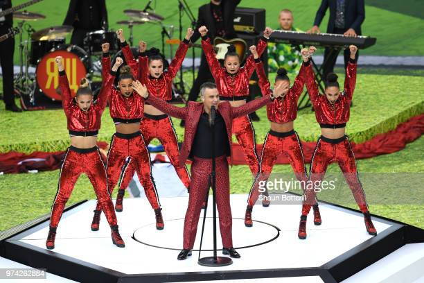 British pop star Robbie Williams perfporms prior to the 2018 FIFA World Cup Russia Group A match between Russia and Saudi Arabia at Luzhniki Stadium...