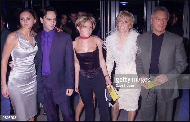 British pop star Victoria Adams' family arrive at the Brit Awards held at Earls Court Exhibition centre on March 3 2000 in London