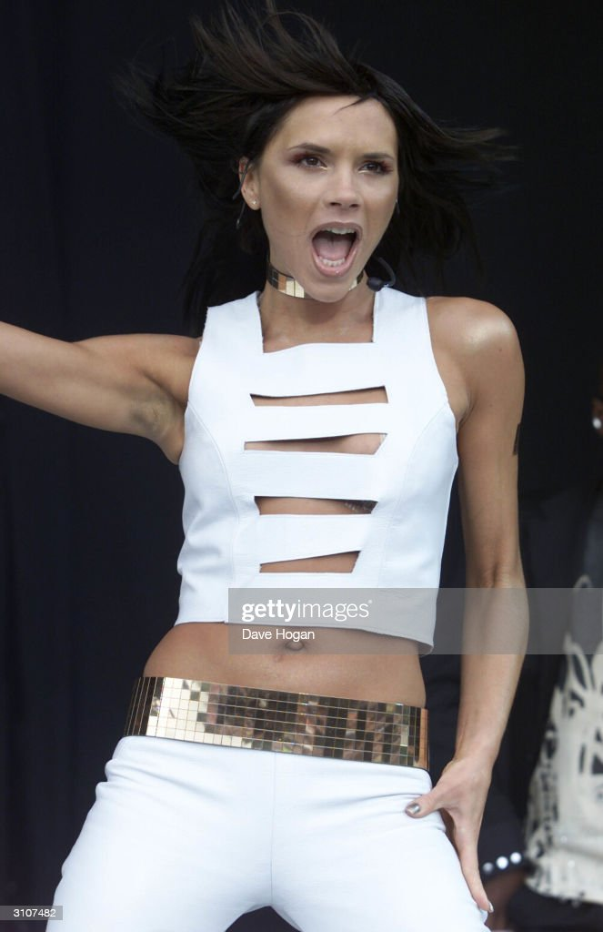 British pop star Victoria Beckham performs on stage at 'Party In The Park' held at Hyde Park on July 9, 2000 in London.