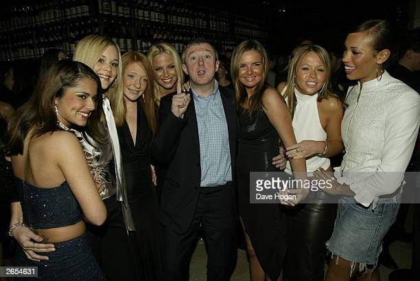 "British pop stars Cheryl Tweedy, Nicola Roberts, Sarah Harding, Nadine Coyle, Kimberley Walsh of the pop group ""Girls Aloud"" and Irish music producer..."