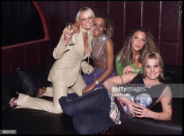 British pop stars Emma Bunton Victoria Beckham Melanie Brown and Melanie Chisolm attend the launch party for the 'Spice Girls' new album 'Forever' at...