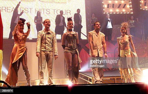 British pop stars Faye Tozer Ian 'H' Watkins Lee LatchfordEvans Claire Richards and Lisa Scott Lee of the pop group 'Steps' performs on stage at...