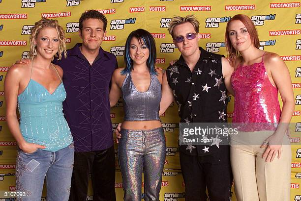 British pop stars Faye Tozer Lee Latchford Evans Lisa Scott Lee Ian H Watkins and Claire Richards of the pop group Steps attend the Smash Hits Poll...