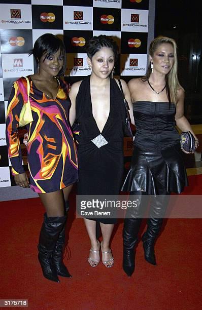 British pop stars Keisha Buchanan Mutya Buena and Heidi Range arrive at the Mastecard MOBO Awards held at the Royal Albert Hall on September 25 2003...