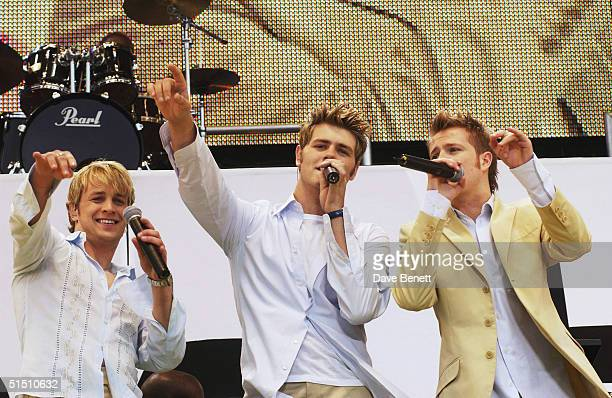 British pop stars Kian Egan Nicky Byrne Shane Filan Mark Feehily and Brian McFadden of the pop group Westlife perform on stage at the Prince's Trust...