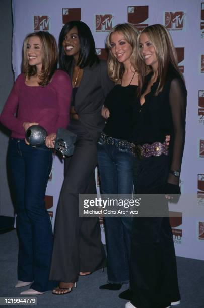 British pop stars Natalie Appleton Melanie Blatt Shaznay Lewis and Nicole Appleton of the pop group All Saints attend the Europe MTV Music Awards in...