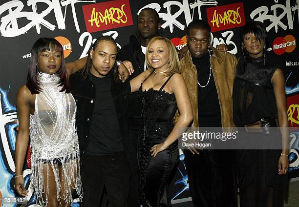 British pop stars of the group Big Brovas arrive at the 2003 Brit Awards Show at Earls Court 0n February 20 2003 in London