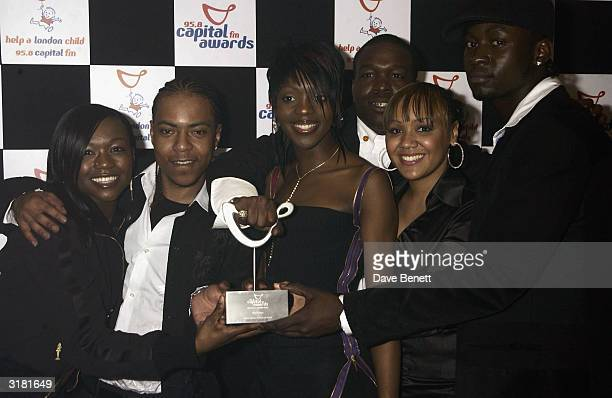 British pop stars of the pop group Big Brovas arrive at the Capital Radio Awards held at the Royal Lancaster Hotel on April 16 2003 in London