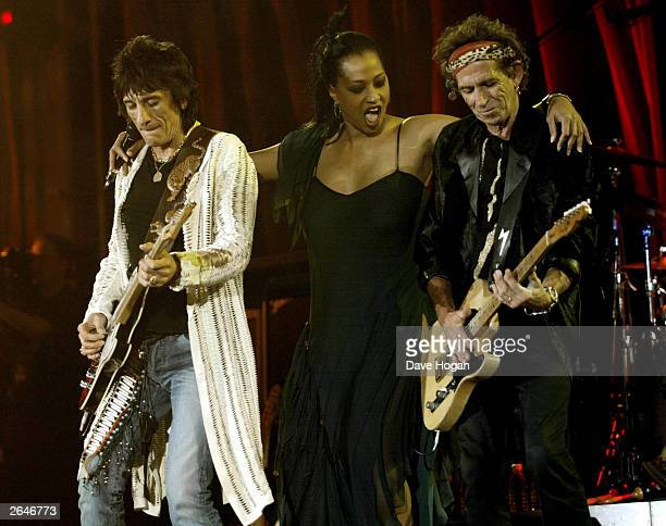 British pop stars Ronnie Wood and Keith Richards of the rock group 'The Rolling Stones' performs on stage on the opening night of their 'Licks' world...