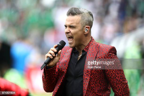 British popstar Robbie Williams performs during the opening ceremony prior to the 2018 FIFA World Cup Russia Group A match between Russia and Saudi...