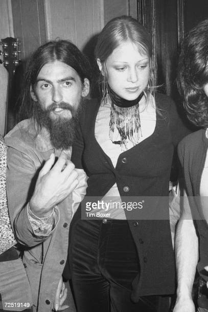 British popular rock and roll guitarist and singer George Harrison formerly of the Beatles and his first wife model Patti Boyd have their picture...