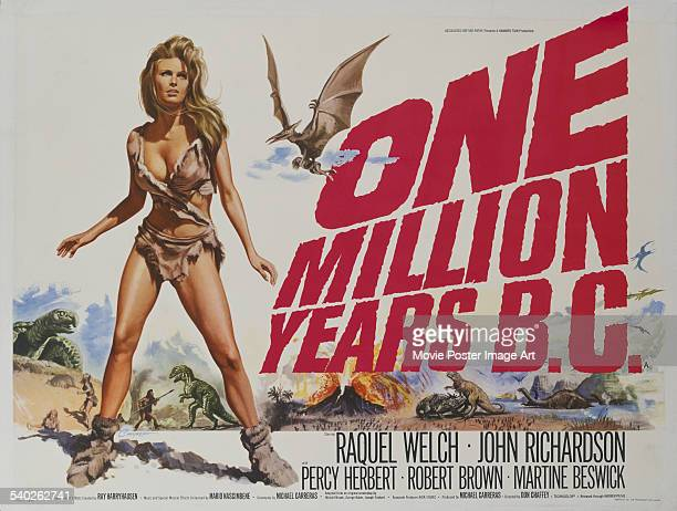British poster for Don Chaffey's 1966 adventure-fantasy, 'One Million Years B.C.', starring, Raquel Welch.