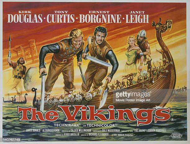 A British poster for Richard Fleischer's 1958 adventure film 'The Vikings' starring Kirk Douglas and Tony Curtis