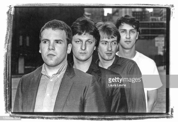 British postpunk bandGang of Four posing on the streets of Lower Manhattan NYC L> R Hugo Burnham Dave Allen Andy Gill Jon King in 1980
